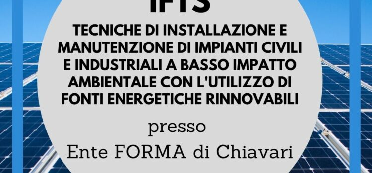 CORSO IFTS PRESSO ENTE FORMA DI CHIAVARI